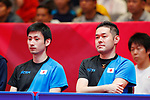 (L to R) <br />   Takashi Watanabe, <br />  Kunihito Tasei (JPN), <br /> AUGUST 27, 2018 - Table Tennis : <br /> Men's Team Preliminary Round <br /> at JIExpo Kemayoran Hall B <br /> during the 2018 Jakarta Palembang Asian Games <br /> in Jakarta, Indonesia. <br /> (Photo by Naoki Morita/AFLO SPORT)