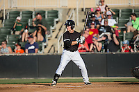 Bradley Strong (18) of the Kannapolis Intimidators at bat against the Augusta GreenJackets at Intimidators Stadium on May 30, 2016 in Kannapolis, North Carolina.  The GreenJackets defeated the Intimidators 5-3.  (Brian Westerholt/Four Seam Images)