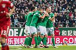 01.12.2018, Weserstadion, Bremen, GER, 1.FBL, Werder Bremen vs FC Bayern Muenchen<br /> <br /> DFL REGULATIONS PROHIBIT ANY USE OF PHOTOGRAPHS AS IMAGE SEQUENCES AND/OR QUASI-VIDEO.<br /> <br /> im Bild / picture shows<br /> Jubel zum 1:1 Ausgleich, Yuya Osako (Werder Bremen #08) bejubelt seinen Treffer zum 1:1,  Max Kruse (Werder Bremen #10), <br /> <br /> Foto &copy; nordphoto / Ewert