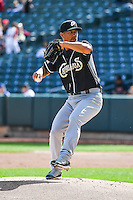 El Paso Chihuahuas starting pitcher Jeremy Guthrie (11) delivers a pitch to the plate against the Salt Lake Bees in Pacific Coast League action at Smith's Ballpark on April 24, 2016 in Salt Lake City, Utah. This was Game 2 of a double-header.  Salt Lake defeated El Paso 6-5. (Stephen Smith/Four Seam Images)