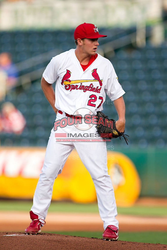 Seth Maness (27) of the Springfield Cardinals stands on the mound during a game against the Arkansas Travelers at Hammons Field on June 12, 2012 in Springfield, Missouri. (David Welker/Four Seam Images)