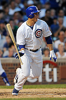 Chicago Cubs first baseman Anthony Rizzo #44 swings at a pitch during a game against the Miami Marlins at Wrigley Field on July 17, 2012 in Chicago, Illinois. The Marlins defeated the Cubs 9-5. (Tony Farlow/Four Seam Images).