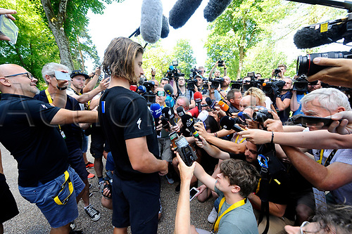July 5th 2017, Vitell, France, Tour de France stage 4, Vitell to La planche des belles filles;   Press conference of SAGAN Peter (SVK) Rider of Team Bora-Hansgrohe after his disqualification from the Tour De France during stage 4 of the 104th edition of the 2017 Tour de France cycling race for causing a crash which retired Mark Cavendish the day before