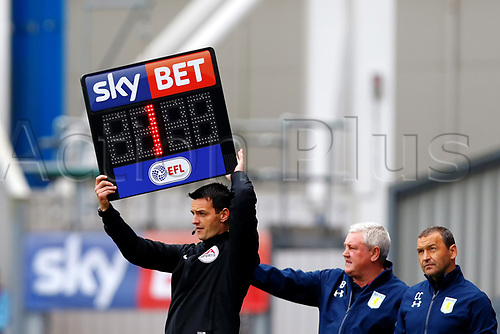 April 29th 2017, Blackburn, Lancashire, England;  Skybet Championship football, Blackburn Rovers versus Aston Villa; The fourth official announces only 1 minute of time remaining