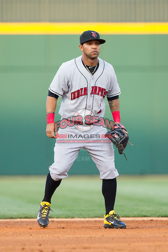 Indianapolis Indians shortstop Robert Andino (2) on defense against the Charlotte Knights at BB&T Ballpark on May 23, 2014 in Charlotte, North Carolina.  The Indians defeated the Knights 15-6.  (Brian Westerholt/Four Seam Images)