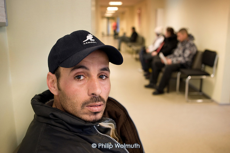 An unemployed Algerian building worker waits for an interview at the Tallinn Labour Market Board (unemployment office).   Estonia has been badly hit by the economic crisis.