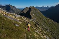 Female hiker descends ridge towards Nonstind mountain peak, Moskenesøy, Lofoten Islands, Norway