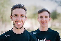 Simon Yates (GBR/Mitchelton-Scott) &amp; a less shaved Adam Yates (GBR/Mitchelton-Scott) confirming their prolongued stay with Team Mitchelton-Scott for another 2 years on the second restday of the Tour<br /> <br /> 105th Tour de France 2018<br /> &copy;kramon