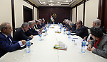 Palestinian President Mahmoud Abbas chairs a meeting of the Higher National Committee in the West Bank city of Ramallah on October 30,  2018. Photo by Thaer Ganaim