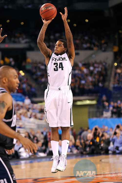 3 APR 2010: Korie Lucious (34) from Michigan State puts up a shot during the semi final game of the Men's Final Four Basketball Championships held at Lucas Oil Stadium in Indianapolis, IN. Butler University went on to defeat Michigan State University 52-50 to advance to the championship game. Ryan McKee/NCAA Photos