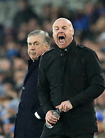 26th December 2019; Goodison Park, Liverpool, Merseyside, England; English Premier League Football, Everton versus Burnley; Everton Manager Carlo Ancelotti  look on as Burnley Manager Sean Dyche  shouts instructions to the Burnley players  - Strictly Editorial Use Only. No use with unauthorized audio, video, data, fixture lists, club/league logos or 'live' services. Online in-match use limited to 120 images, no video emulation. No use in betting, games or single club/league/player publications