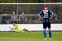 GRONINGEN - Voetbal, FC Groningen O23 - ACV, derde divisie, seizoen 2017-2018, 16-09-2017, FC Groningen doelman Jan Hoekstra  stopt strafschop van ACV speler Pacal Huser