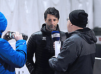 Lincoln City manager Danny Cowley speaks to the press during the pre-match warm-up<br /> <br /> Photographer Andrew Vaughan/CameraSport<br /> <br /> The EFL Sky Bet League Two - Lincoln City v Yeovil Town - Friday 8th March 2019 - Sincil Bank - Lincoln<br /> <br /> World Copyright © 2019 CameraSport. All rights reserved. 43 Linden Ave. Countesthorpe. Leicester. England. LE8 5PG - Tel: +44 (0) 116 277 4147 - admin@camerasport.com - www.camerasport.com