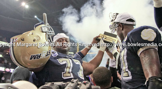 Aug 14, 2010: The Tampa Bay Storm celebrate a division win.  The Storm defeated the Predators 63-62 to win the division title at the St. Petersburg Times Forum in Tampa, Florida. (Mandatory Credit:  Margaret Bowles)