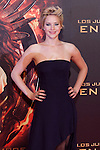 "US actress Jennifer Lawrence poses for the photographers during the Spain premiere of the movie ""The Hunger Games: Catching Fire"" at Callao Cinema in Madrid, Spain. November 13, 2013. (ALTERPHOTOS/Victor Blanco)"
