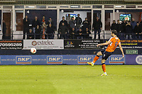 Danny Hylton of Luton Town scores his team's third goal (penalty) of the game to make the score 3-1 on the night during the Sky Bet League 2 Play Off Semi Final 2 leg match between Luton Town and Blackpool at Kenilworth Road, Luton, England on 18 May 2017. Photo by David Horn.