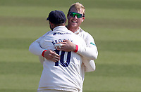 Simon Harmer of Essex embraces Nick Browne to celebrate taking the wicket of Ryan Patel during Surrey CCC vs Essex CCC, Specsavers County Championship Division 1 Cricket at the Kia Oval on 14th April 2019