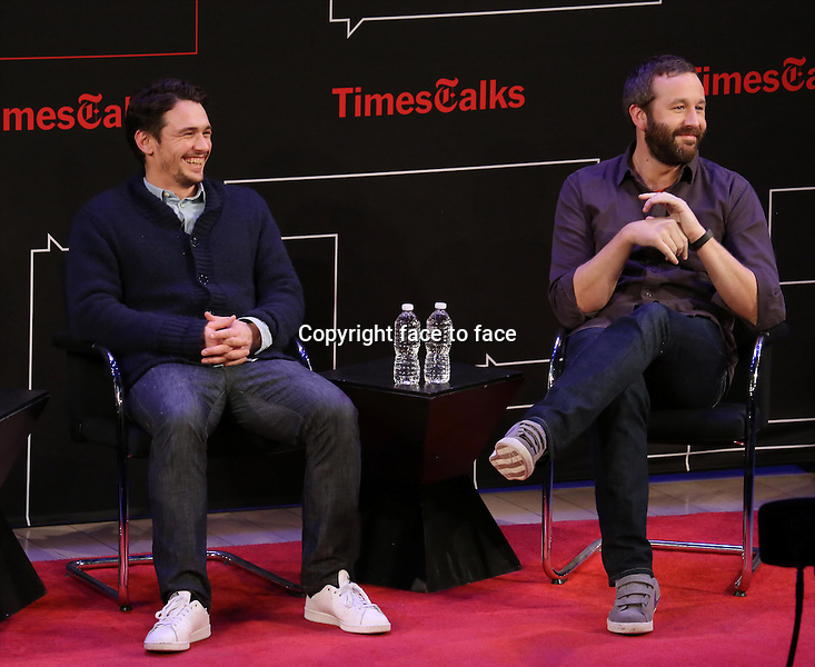 Chris O'Dowd and James Franco onstage at TimesTalks Presents 'An Evening With James Franco And Chris O'Dowd' at the Times Center on March 7, 2014 in New York City.<br />