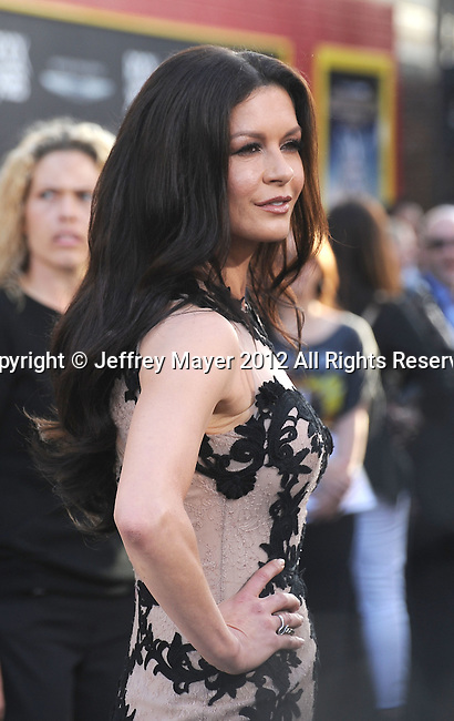 HOLLYWOOD, CA - JUNE 08: Catherine Zeta-Jones arrives at the 'Rock Of Ages' - Los Angeles Premiere at Grauman's Chinese Theatre on June 8, 2012 in Hollywood, California.