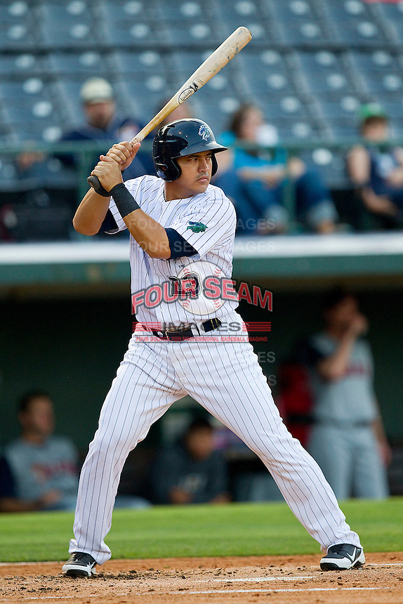 Hector Gimenez #23 of the Charlotte Knights at bat against the Toledo Mud Hens at Knights Stadium on May 8, 2012 in Fort Mill, South Carolina.  (Brian Westerholt/Four Seam Images)