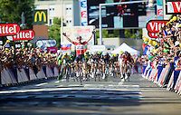 victory for Tony Gallopin (FRA/Lotto-Belisol)<br /> <br /> 2014 Tour de France<br /> stage 11: Besan&ccedil;on - Oyonnax (187km)