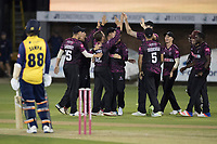 The Somerset players celebrate with Roelof Van Der Merwe of Somerset CCC on his 5th wicket during Essex Eagles vs Somerset, Vitality Blast T20 Cricket at The Cloudfm County Ground on 7th August 2019