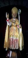 Gubbio 15 MAY 2004..Festival of the Ceri..The statue  of St Ubaldo ....http://www.ceri.it/ceri_eng/index.htm..