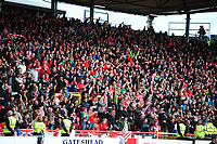 Lincoln City fans celebrate Lincoln City's Matt Rhead's equaliser<br /> <br /> Photographer Andrew Vaughan/CameraSport<br /> <br /> Vanarama National League - Gateshead v Lincoln City - Monday 17th April 2017 - Gateshead International Stadium - Gateshead <br /> <br /> World Copyright &copy; 2017 CameraSport. All rights reserved. 43 Linden Ave. Countesthorpe. Leicester. England. LE8 5PG - Tel: +44 (0) 116 277 4147 - admin@camerasport.com - www.camerasport.com