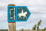 Public bridleway signpost in countryside near Chisbury, Wiltshire, England, UK close up