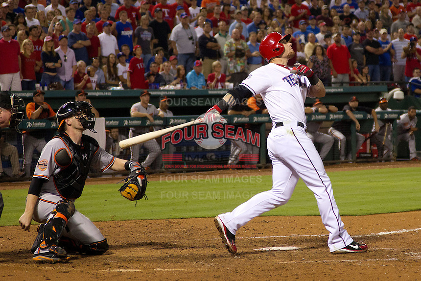 Texas Rangers outfielder Josh Hamilton #32 watches a long foul ball during the Major League Baseball game against the Baltimore Orioles on August 21st, 2012 at the Rangers Ballpark in Arlington, Texas. The Orioles defeated the Rangers 5-3. (Andrew Woolley/Four Seam Images).