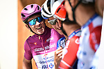 Maglia Ciclamino Arnaud Demare (FRA) and Groupama-FDJ at sign on before Stage 18 of the 2019 Giro d'Italia, running 222km from Valdaora-Olang to Santa Maria di Sala, Italy. 30th May 2019<br /> Picture: Massimo Paolone/LaPresse | Cyclefile<br /> <br /> All photos usage must carry mandatory copyright credit (© Cyclefile | Massimo Paolone/LaPresse)