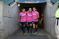 Cary, North Carolina  - Saturday September 09, 2017: Debinha, Meredith Speck, and Elizabeth Eddy prior to a regular season National Women's Soccer League (NWSL) match between the North Carolina Courage and the Houston Dash at Sahlen's Stadium at WakeMed Soccer Park. The Courage won the game 1-0.