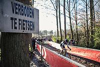 Oops biking forbidden (Verboden te fietsen). <br /> <br /> men's elite race<br /> Flandriencross Hamme / Belgium 2017