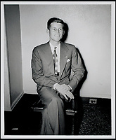 BNPS.co.uk (01202 558833)<br /> Pic: RRAuction/BNPS<br /> <br /> A young Kennedy seated in his Beacon Hill apartment. <br /> <br /> Incredibly-rare photos highlighting the first foray into politics for John F. Kennedy that would eventually cost him his life have come to light.<br /> <br /> The 100 black and white snaps show a youthful-looking JFK from 1946, when he was campaigning to become a US congressman for the first time.<br /> <br /> The tragic future president is seen during an oration lesson where he was given help by an expert with public speaking and posture.<br /> <br /> The 29-year-old is also depicted mingling with the public at an annual parade and as well as celebrating his first political victory - a congressional primary vote - in June 1946.<br /> <br /> The images are being sold by US-based RR Auction.