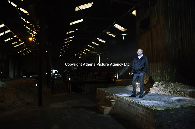 """Pictured: Actor Ioan Hefin who plays Adrian<br /> Re: Press rehearsal of """"We'Re Still Here"""", a play created by Rachel Trezise, Common Wealth and the National Theatre Wales about steelworkers, which will be performed in Byass Works, a disused industrial unit, in Port Talbot, south Wales, UK."""