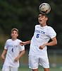 Josh Ciolko #6 of Roslyn makes a header during a Nassau County varsity boys soccer game against Roosevelt at Roslyn High School on Thursday, Oct. 5, 2017.