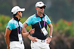 (L to R) <br />   Hirokazu Suhara, <br />   €Gareth Jones (JPN), <br /> AUGUST 23, 2018 - Golf : <br /> Women's Individual Round 1 <br /> at Pondok Indah Golf & Country Club <br /> during the 2018 Jakarta Palembang Asian Games <br /> in Jakarta, Indonesia. <br /> (Photo by Naoki Morita/AFLO SPORT)