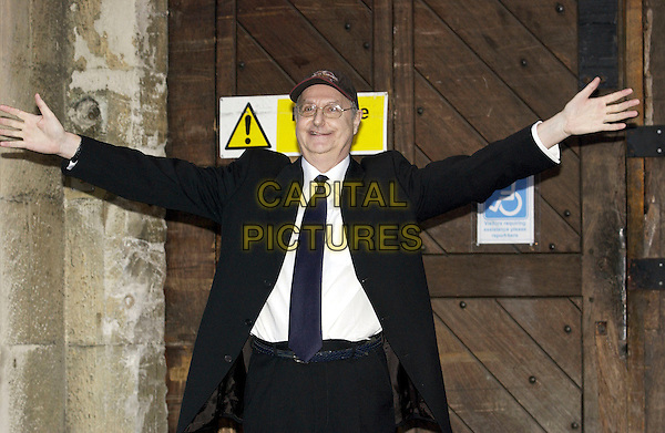 """JONATHAN KING.Was released from HMP Maidstone this morning around 8.30 am. The former DJ and TV presenter aged 60 was jailed for seven years in 2001 for sex offences against underage boys. As he left Maidstone Prison he said: """"I'm totally, absolutely 100% innocent"""" and added his lawyer had """"guaranteed"""" he would be cleared on appeal. .HMP Maidstone, Kent, March 29th 2005..half length arms out prison glasses hat cap suit tie.Ref: DH.www.capitalpictures.com.sales@capitalpictures.com.©Capital Pictures."""