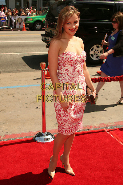 "RACHAEL LEIGH  COOK.Los Angeles Premiere of ""Nancy Drew"" at Grauman's Theatre, Hollywood, CA, USA, 9 June 2007..full length strapless pink and white print dress.CAP/ADM/BP.©Byron Purvis/AdMedia/Capital Pictures."