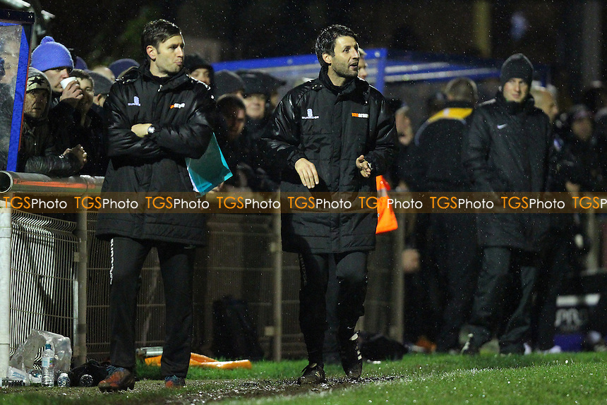Concord Rangers manager Danny Cowley (C) urges his team on - Concord Rangers vs Mansfield Town - FA Challenge Cup 1st Round Replay Football at the Aspect Arena, Thames Road, Canvey Island, Essex - 25/11/14 - MANDATORY CREDIT: Gavin Ellis/TGSPHOTO - Self billing applies where appropriate - contact@tgsphoto.co.uk - NO UNPAID USE