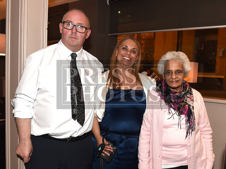 David and Lorna Bradley celebrating their 25th wedding anniversary in Annie's Cafe and Wine Bar in Meatmarket Lane with Lorna's mother Daphne Mullins. Photo:Colin Bell/pressphotos.ie
