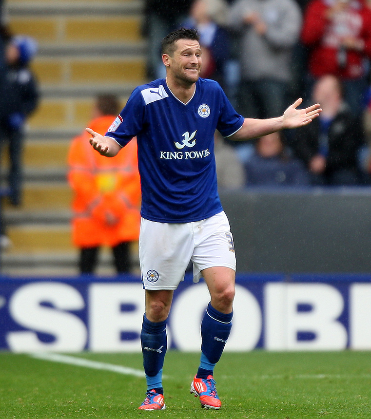 Leicester City's David Nugent  celebrates scoring his sides second goal ..Football - npower Football League Championship - Leicester City v Hull City - Sunday 23rd September 2012 - King Power Stadium - Leicester..