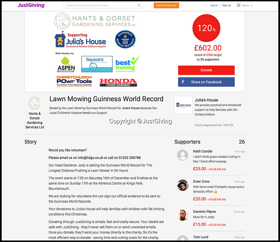 BNPS.co.uk (01202 558833)Pic: JustGiving/BNPSMow Jody, Mow! Jody's Just giving page. Forget the BBC's Sports Personality awards and the Ashes debacle, a true sporting great was born in the unlikely surroundings of the Bournemouth Athletic stadium yesterday morning as Landscape gardener Jody Fassinger smashed the world mowing record by more than 32 miles.Gardener Jody Fassinger has set a new world record for pushing a lawnmower the furthest distance for in 24 hours.Jody Fassinger, 40, pushed the petrol mower for a total of 57.6 miles, smashing the previous record which stood at 25.5 miles.Jody, who works as head gardener for Hants and Dorset Gardening Services, carried out the feat on the large grass pitch of an athletics stadium in Bournemouth.He set off at 7.30am on Saturday and mowed non-stop around the perimeter of the field for 24 hours.