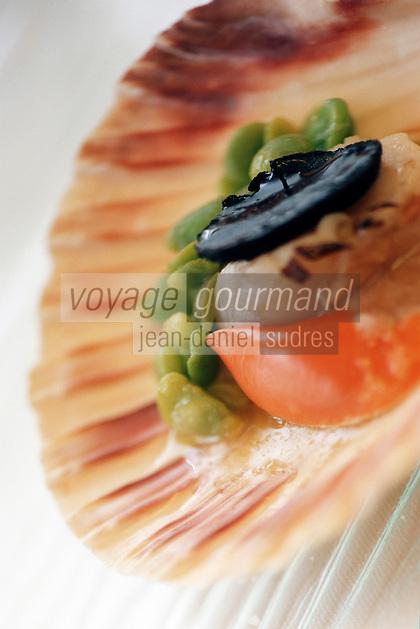 """Europe/France/Bretagne/29/Finistère/Brest: Coquille St Jacques aux truffes recette de Yann Plassard - restaurant """"La Fleur de Sel"""""""