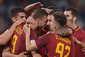 1st December 2017, Stadio Olimpico, Rome, Italy; Serie A football. AS Roma versis Spal; Edin Dzeko Roma celebrates as he scores for Roma  making it 2-0