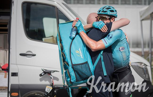 A very happy Jakob Fuglsang (DEN/Astana) is the stage winner<br /> <br /> Stage 6: Le parc des oiseaux/Villars-Les-Dombes &rsaquo; La Motte-Servolex (147km)<br /> 69th Crit&eacute;rium du Dauphin&eacute; 2017