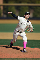 Wake Forest Demon Deacons relief pitcher John McCarren (45) in action against the Virginia Tech Hokies at Wake Forest Baseball Park on March 7, 2015 in Winston-Salem, North Carolina.  The Hokies defeated the Demon Deacons 12-7 in game one of a double-header.   (Brian Westerholt/Four Seam Images)