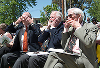 From left, Occidental's 12th president Ted Mitchell, 10th president Richard Gilman and 14th president Robert Skotheim.<br />