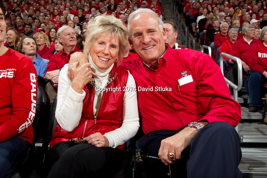 Wisconsin Badgers alumni Ted Kellner with his wife during an NCAA college basketball game against the Purdue Boilermakers Wednesday, March 5, 2014 in Madison, Wis. The Badger won 76-70. (Photo by David Stluka)