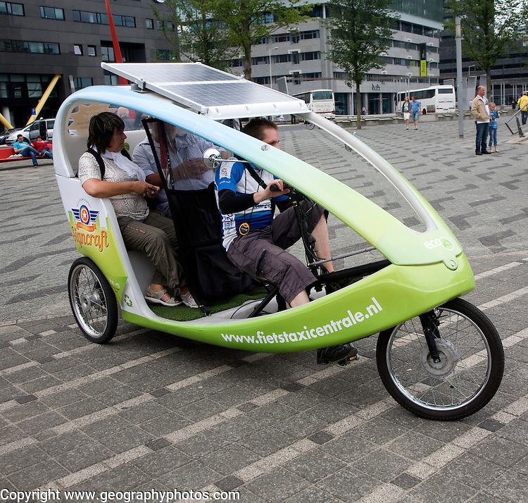 Pedal and solar powered taxi vehicle Rotterdam, Netherlands
